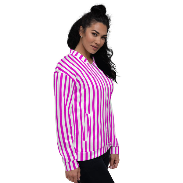 Pink Stripe Bomber Jacket, Unisex Jacket For Men or Women-Heidi Kimura Art LLC-Heidi Kimura Art LLC Pink Stripe Bomber Jacket, Vertical Striped Print Jacket, Modern Premium Quality Modern Unisex Jacket For Men/Women With Pockets-Made in EU