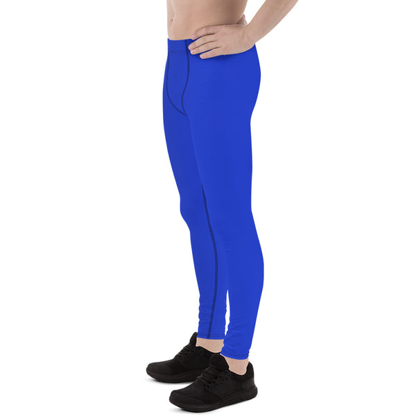 Solid Color Blue Men's Running Leggings & Run Tights Meggings Activewear Pants-Men's Leggings-Heidi Kimura Art LLC