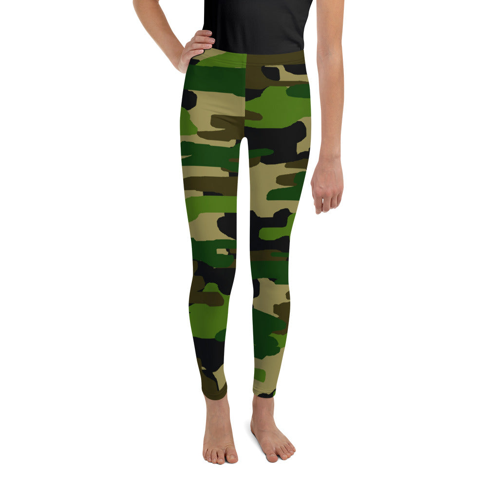 Girl Military Green Camouflage Active Wear Sports Gym Youth Leggings, Made in USA/EU-Youth's Leggings-8-Heidi Kimura Art LLC