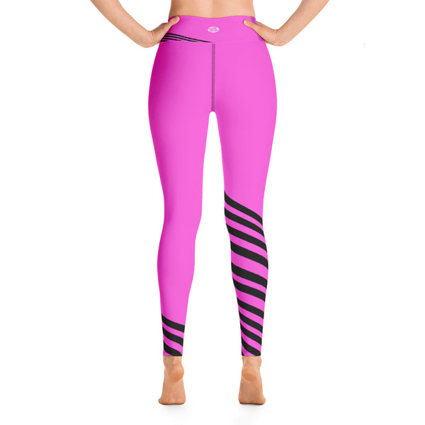 Pink Black Diagonal Striped Yoga Leggings/ Long Yoga Pants/ Tights - Made in USA-legging-Heidi Kimura Art LLC Pink Black Striped Leggings, Pink Black Diagonal Striped Yoga Leggings/ Long Yoga Pants/ Tights - Made in USA/EU (US Size: XS-XL)