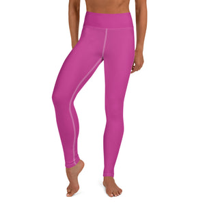 Sakura Pink Solid Color Print Premium Women's Yoga Leggings Pants- Made in USA/ EU-Leggings-XS-Heidi Kimura Art LLC Pink Women's Yoga Pants, Women's Hot Pink Bright Solid Color Yoga Gym Workout Tights, Long Yoga Pants Leggings Pants, Plus Size, Soft Tights - Made in USA/EU, Women's Hot Pink Solid Color Active Wear Fitted Leggings Sports Long Yoga & Barre Pants (US Size: XS-XL)
