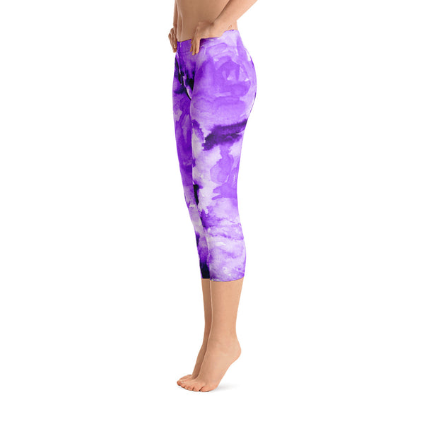 Purple Rose Floral Designer Capri Leggings Activewear Outfit Yoga Pants - Made in USA-capri leggings-Heidi Kimura Art LLC