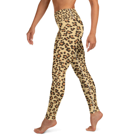 Brown Beige Leopard Animal Print Women's Yoga Leggings Long Pants- Made in USA/ EU-Leggings-Heidi Kimura Art LLC Brown Leopard Women's Yoga Pants, Brown Beige Leopard Animal Print Women's Yoga Leggings/ Long Yoga Pants, Women's Activewear - Made in USA/ EU (US Size: XS-XL), Leopard Yoga Pants, Women's Yoga Pants, Cool Cheetah Leopard Print Leggings, Yoga Leopard Leggings For Women, Leopard Print Leggings / Yoga Pants, Sport Leggings Women High Waist Leopard Prints Legging