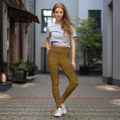 Brown Cheetah Yoga Leggings, Animal Print Women's Fitness Tights-Made in USA/EU-Heidi Kimura Art LLC-Heidi Kimura Art LLC Brown Cheetah Yoga Leggings, Wild Animal Print Premium Women's Long Yoga Leggings, Long Yoga Pants, Gym Fitness Tights - Made in USA/EU (US Size: XS-XL)