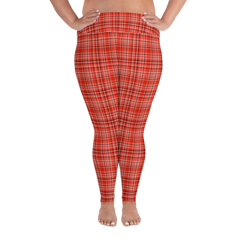 Red Plaid Scottish Tartan Print Women's Long Yoga Pants Plus Size Leggings-Women's Plus Size Leggings-2XL-Heidi Kimura Art LLC