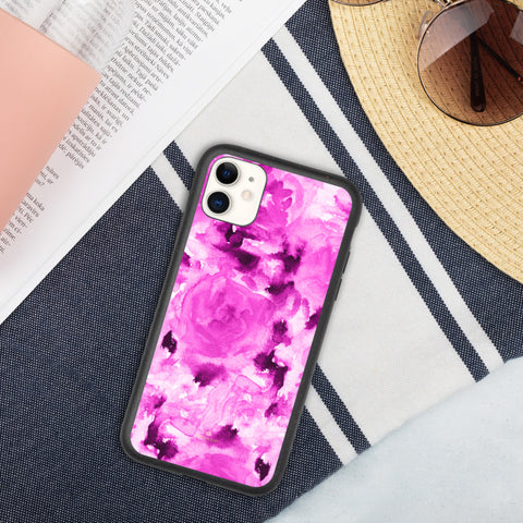 Floral Print Biodegradable Phone Case, Pink Rose Flower Abstract Best Environmentally, Recycled Eco-Friendly Abstract Rose Flower Print iPhone Case-Printed in EU, Eco-Friendly Phone Cases, Biodegradable Phone Cases for Vegan Lovers, Phone Cases For iPhone 7 Plus/ 8 Plus, iPhone X/ iPhone 10, iPhone XS/ XR/ XS Max, iPhone 11, iPhone 11 Pro, iPhone 11 Pro Max