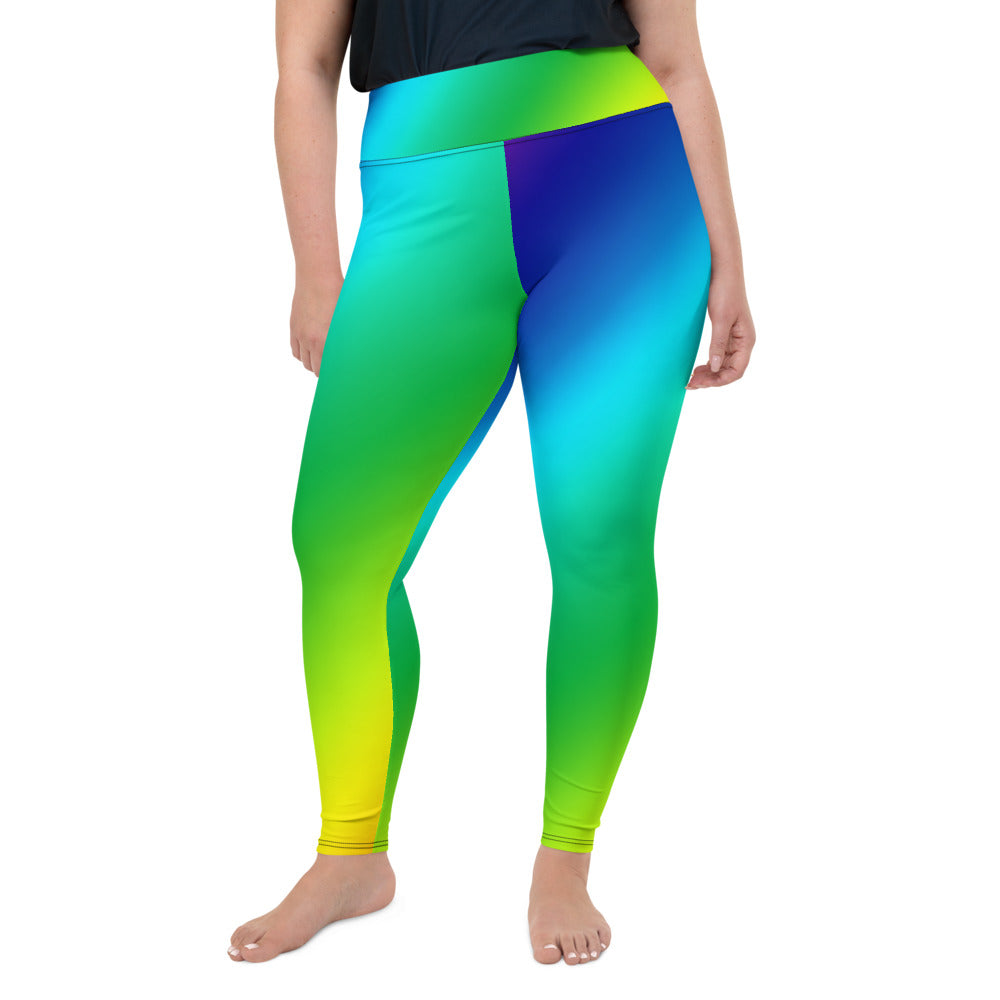 Rainbow Diagonal Ombre Print Women's Plus Size Leggings Yoga Pants- Made in USA/EU-Women's Plus Size Leggings-2XL-Heidi Kimura Art LLC