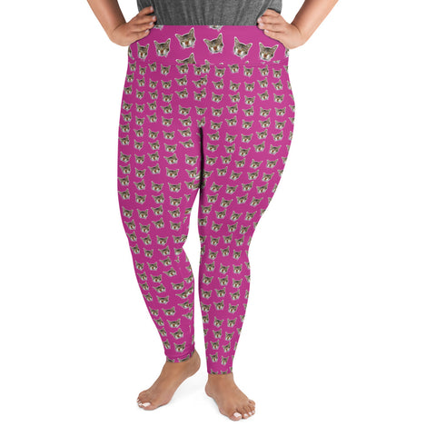 Hot Pink Cat Print Leggings, Women's Plus Size Yoga Leggings Tights - Made in USA/EU-Women's Plus Size Leggings-2XL-Heidi Kimura Art LLC