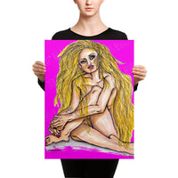 Rinko Cool Blonde with Tattoo Fashion Model Canvas Art Print - Made in USA - Heidi Kimura Art LLC