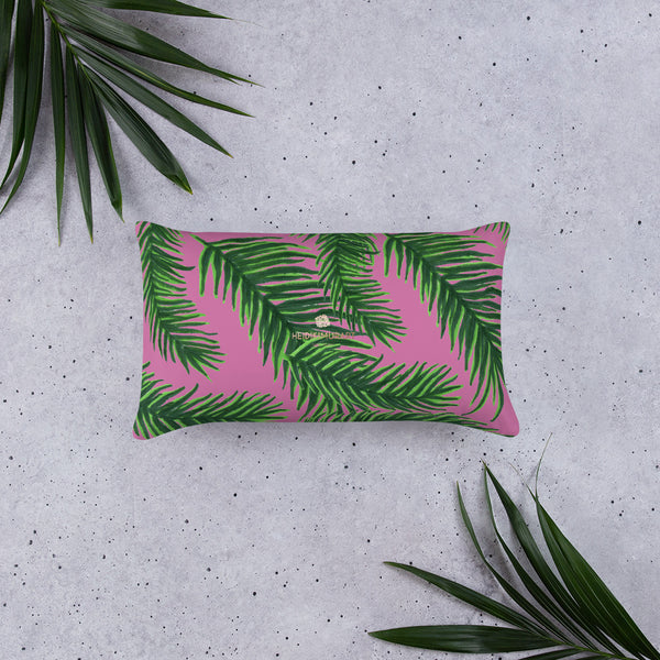 "Pink Green Tropical Palm Leaf Designer 20""x12"", 18""x18"" Basic Pillow-Made in USA-Pillow-Heidi Kimura Art LLC"