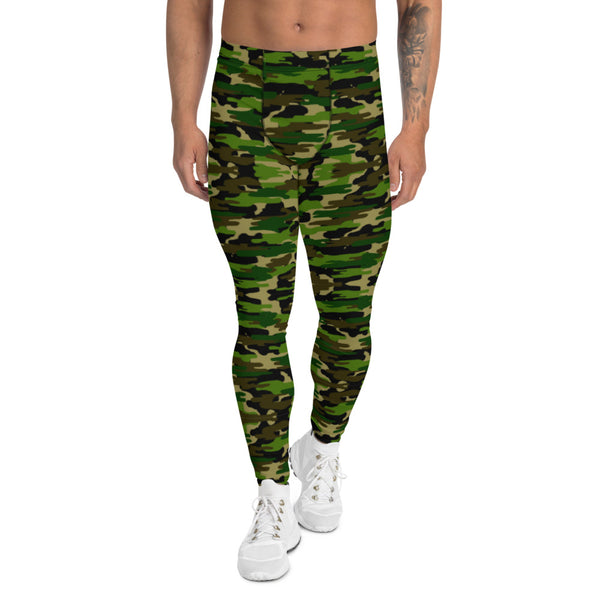 Green Camo Print Men's Leggings-Heidikimurart Limited -XS-Heidi Kimura Art LLC Green Camo Print Meggings, Camouflage Military Green Army Print Men's Yoga Pants Running Leggings & Fetish Tights/ Rave Party Costume Meggings, Compression Pants- Made in USA/ Europe/ MX (US Size: XS-3XL) Green Camo Men's Leggings, Compression Pants, Green Camo Men Workout Tights, Camo Leggings