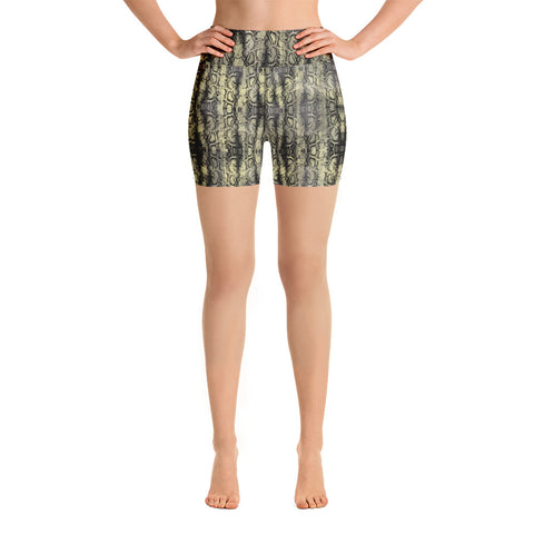 Snakeskin Print Women's Yoga Shorts, Premium Green Snake Print Short Tights-Heidikimurart Limited -XS-Heidi Kimura Art LLC Snakeskin Print Women's Yoga Shorts, Premium Green Snake Print Premium Quality Women's High Waist Spandex Fitness Workout Yoga Shorts, Yoga Tights, Fashion Gym Quick Drying Short Pants With Pockets - Made in USA/EU/MX (US Size: XS-XL)