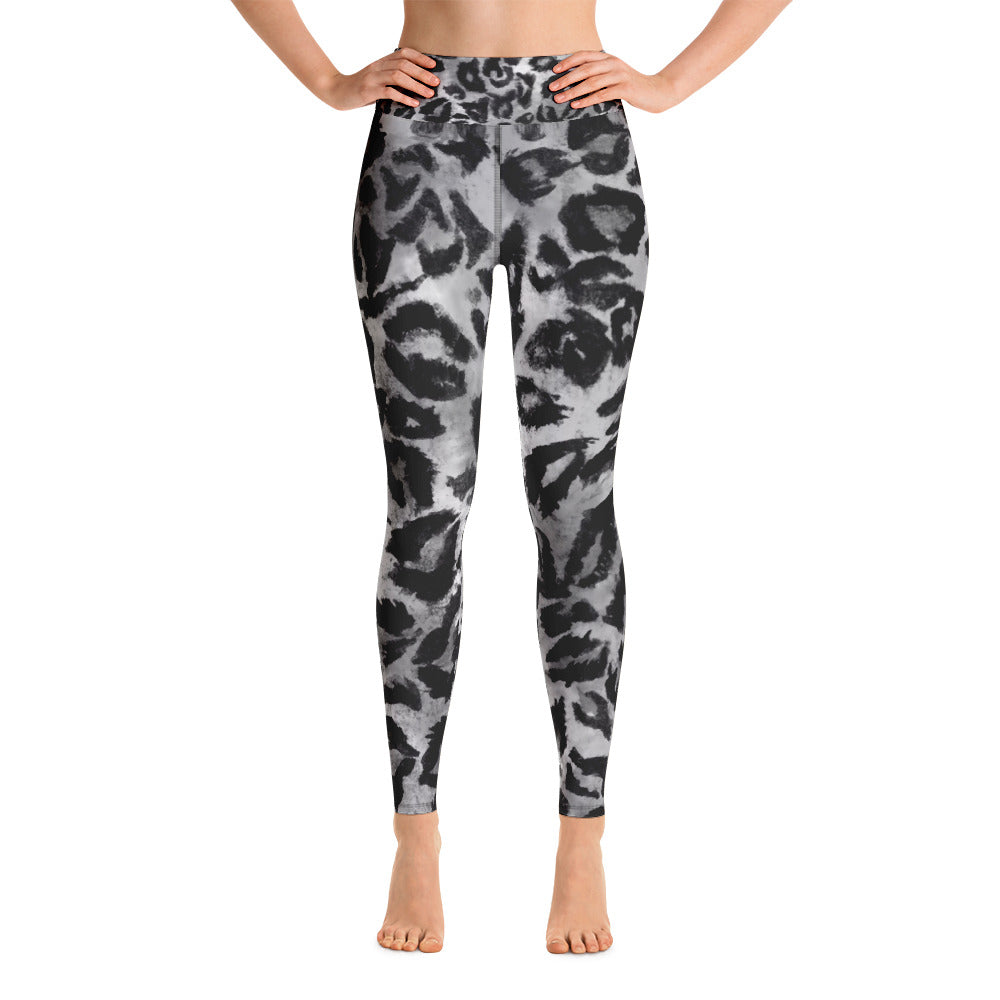 Women's Grey Leopard Animal Pattern Active Wear Fitted Leggings Sports Long Pants-Leggings-XS-Heidi Kimura Art LLC