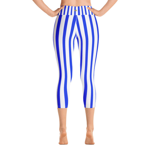 Blue Vertical Striped Women's Yoga Capri Pants Leggings With Pockets - Made In USA/EU-Capri Yoga Pants-Heidi Kimura Art LLC