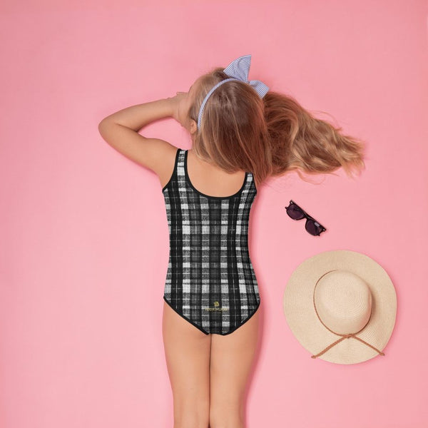 Gray Black Tartan Plaid Print Girls Kids Swimsuit Swimwear Bathing Suits -Made in USA/EU-Kid's Swimsuit (Girls)-Heidi Kimura Art LLC Gray Tartan Plaid Girl's Swimwear, Classic Gray Black Plaid Tartan Print Girl's Kids Luxury Premium Modern Fashion Swimsuit Swimwear Bathing Suit Children Sportswear Bathing Suits- Made in USA/EU (US Size: 2T-7)