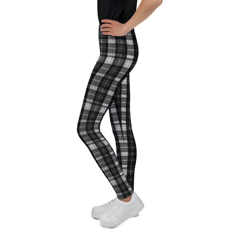 Black Plaid Girl Bottoms Winter Essentials Sports Gym Youth Leggings, Made in USA-Youth's Leggings-Heidi Kimura Art LLC Black Plaid Girl's Leggings, Black Plaid Print Designer Girl Bottoms Winter Essentials Sports Gym Youth Leggings, Made in USA/EU (US Size: 8-20)