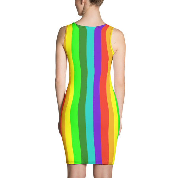 Gay Pride Striped Rainbow Colorful Women's Long One-Piece Dress- Made in USA/ Europe-Women's Sleeveless Dress-Heidi Kimura Art LLC