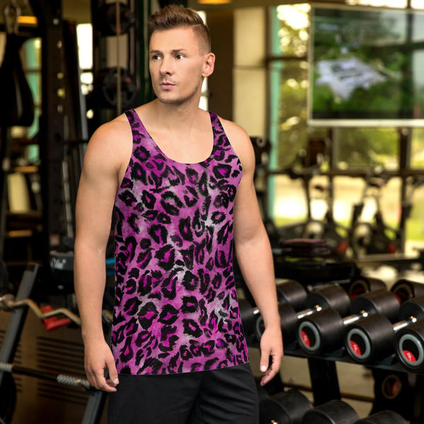 Pink Leopard Animal Print Mens Womens Premium Best Unisex Tank Top-Made in USA-Men's Tank Top-XS-Heidi Kimura Art LLC