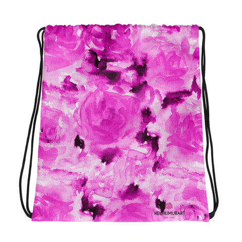 "Pink Abstract Rose Floral Print Designer 15""x17"" Drawstring Bag - Made in USA/ Europe-Drawstring Bag-Heidi Kimura Art LLC"