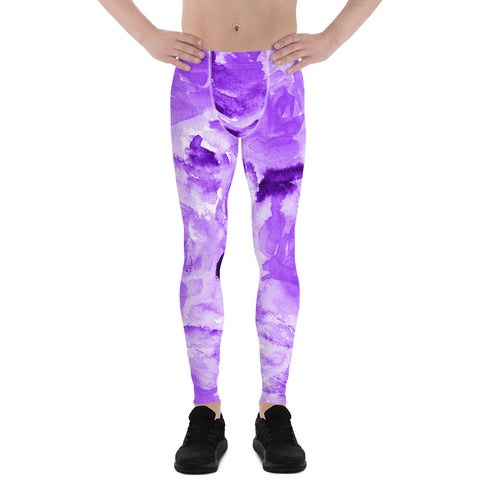 Purple Floral Men's Leggings, Abstract Print Sexy Premium Classic Elastic Comfy Men's Leggings Fitted Tights Pants - Made in USA/EU (US Size: XS-3XL) Spandex Meggings Men's Workout Gym Tights Leggings, Compression Tights, Kinky Fetish Men Pants