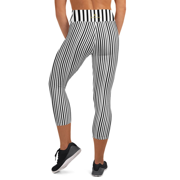 Black White Vertical Stripe Print Women's Yoga Capri Leggings Pants- Made in USA/EU-Capri Yoga Pants-Heidi Kimura Art LLC