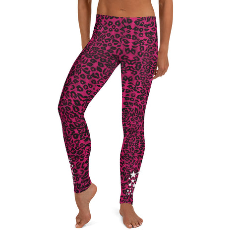 Pink Leopard Women's Leggings, White Stars Casual Tights-Made in USA/EU-Heidi Kimura Art LLC-Heidi Kimura Art LLC