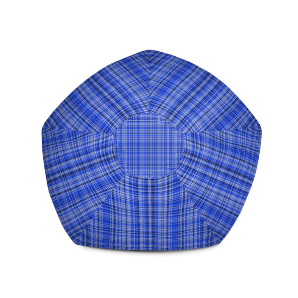 Serene Blue Tartan Plaid Print Water Resistant Polyester 3.4' Tall Bean Sofa Bag Chair-Bean Bag-Heidi Kimura Art LLC