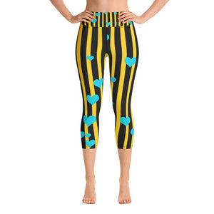 Black Yellow Striped Yoga Capri Pants, Women's Capris Leggings w/ Pockets -Made In USA-Capri Yoga Pants-XS-Heidi Kimura Art LLC