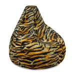 Orange Tiger Striped Animal Print Water Resistant Polyester Bean Sofa Bag - Heidi Kimura Art LLC