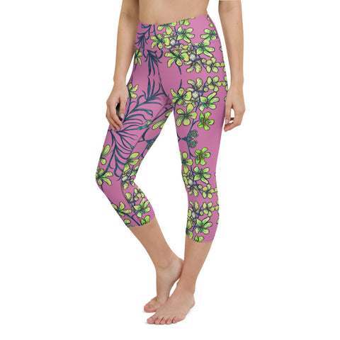 Pink Orchids Yoga Capri Leggings, Floral Print Womens' Capri Tights-Made in USA/EU-Heidi Kimura Art LLC-Heidi Kimura Art LLC Pink Orchids Yoga Capri Leggings, Girlie Floral Print Women's Yoga Capri Leggings Pants High Performance Tights- Made in USA/EU (US Size: XS-XL)
