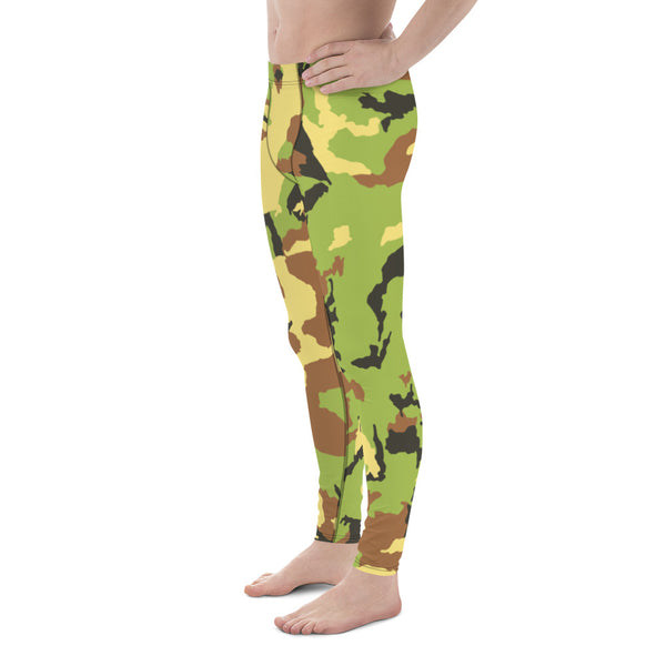 Green Camo Camouflage Military Army Abstract Print Sexy Meggings-Made in USA/ EU-Men's Leggings-Heidi Kimura Art LLC