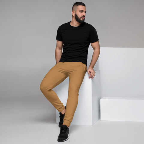 Nude Brown Men's Joggers, Solid Color Sweatpants For Men-Made in EU/MX