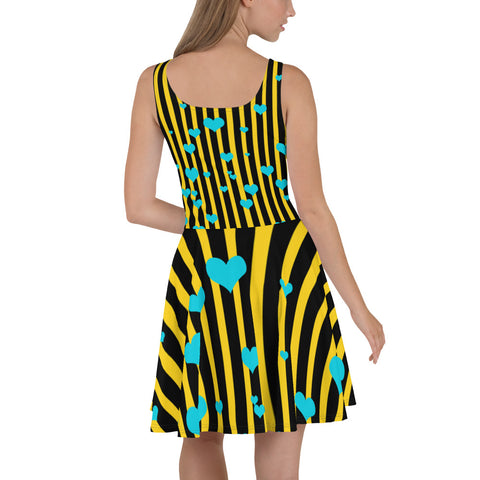 Yellow + Black Striped Women's A-line Long Best Skater Dress Sizes XS-3XL - Made in Europe-Skater Dress-Heidi Kimura Art LLC Yellow Black Striped Women's Dress, Yellow + Black Striped with Hearts Long Best Quality Premium Women's A-line Skater Dress - Made in Europe (US  Sizes XS-3XL)
