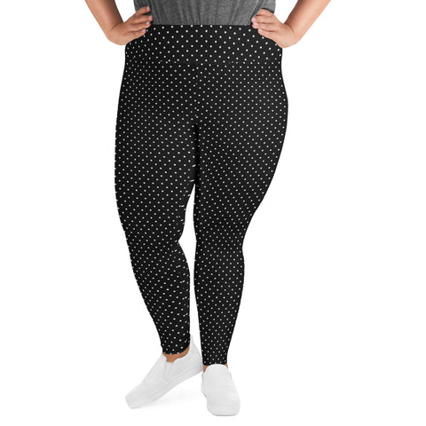 White Dots Plus Size Leggings, Black Long Yoga Tights-Made in USA/EU-Heidi Kimura Art LLC-Heidi Kimura Art LLC White Dots Plus Size Leggings, Black White Polka Dots Women's Leggings Plus Size, Women's Yoga Pants Long Plus Size Leggings - Made in USA/EU (US Size: 2XL-6XL)