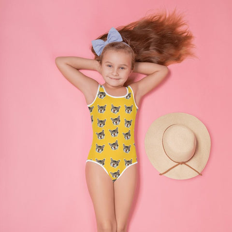 Bright Yellow Cat Print Girl's Swimsuit, Cute Kids Swimwear- Made in USA/EU (US Size: 2T-7) Girl's Cute Premium Kids Swimsuit Bathing Suit, Cat Swimsuit, Cute Cat Girls Swimsuit