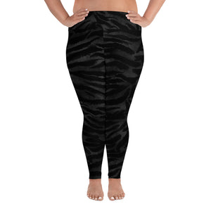 Black Tiger Stripe Print Women's High Waist Yoga Pants Plus Size Leggings-Women's Plus Size Leggings-2XL-Heidi Kimura Art LLC Black Tiger Plus Size Leggings, Black Tiger Stripe Animal Print Women's High Waist Yoga Pants Plus Size Leggings - Made in USA/EU (US Size: 2XL-6XL)
