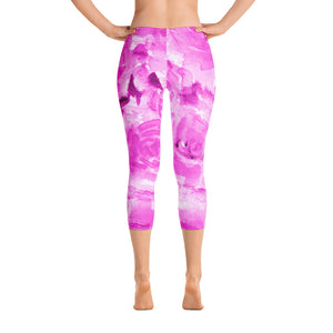 Pink Rose Floral Designer Capri Leggings Casual Fashion Outfits-Made in USA/EU (US Size: XS-XL)-capri leggings-XS-Heidi Kimura Art LLC
