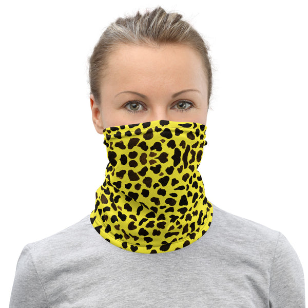 Yellow Leopard Print Face Mask, Animal Print Unisex Face Covering Neck Gaiter-Heidi Kimura Art LLC-Heidi Kimura Art LLC Yellow Leopard Cheetah Neck Gaiter, Animal Print Luxury Premium Quality Cool And Cute One-Size Reusable Washable Scarf Headband Bandana - Made in USA/EU, Face Neck Warmers, Non-Medical Breathable Face Covers, Neck Gaiters