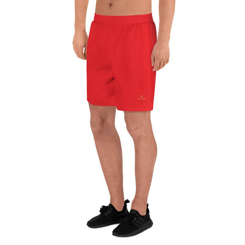 Red Solid Color Print Premium Men's Athletic Long Shorts - Made in Europe-Men's Long Shorts-Heidi Kimura Art LLC
