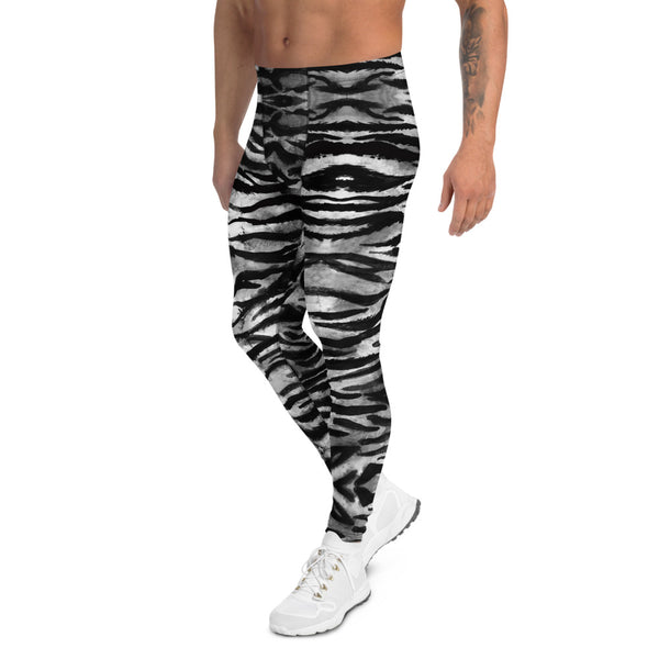 Grey Tiger Stripe Men's Leggings, Animal Print Meggings Compression Tights-Heidi Kimura Art LLC-Heidi Kimura Art LLC Grey Tiger Stripe Men's Leggings, Tiger Animal Print Sexy Meggings Men's Workout Gym Tights Leggings, Men's Compression Tights Pants - Made in USA/ EU (US Size: XS-3XL)