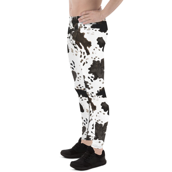 Cow Print Men's Running Leggings & Run Tights Meggings Activewear- Made in USA/EU-Men's Leggings-Heidi Kimura Art LLC Cow Print Men's Leggings, Cow Print Men's Running Leggings & Run Tights Meggings Activewear- Made in USA/ Europe (US Size: XS-3XL)