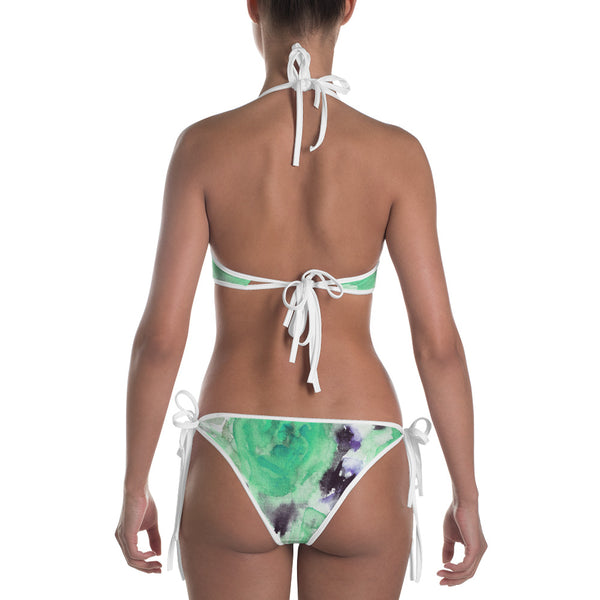 Sea Rose Flower Turquoise Blue Floral Rose Print Premium Women's Bikini- Made in USA-Swimwear-Heidi Kimura Art LLC
