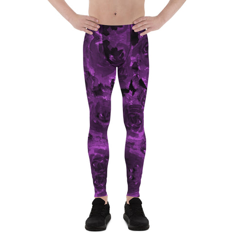 Purple Floral Men's Leggings, Abstract Print Sexy Meggings Men's Workout Gym Tights Leggings, Men's Compression Tights Pants - Made in USA/ EU (US Size: XS-3XL)