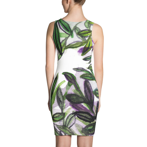Tropical Leaves Print Premium Sleeveless Designer Long Sleeves Premium Dress-Made in USA/EU-Women's Sleeveless Dress-Heidi Kimura Art LLC