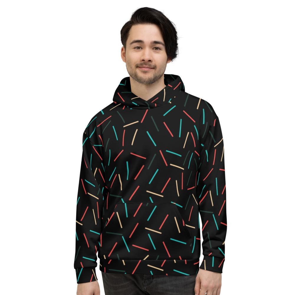 Black Sprinkle Print Men's or Women's Unisex Hoodie Sweatshirt Pullover- Made in EU-Men's Hoodie-XS-Heidi Kimura Art LLC