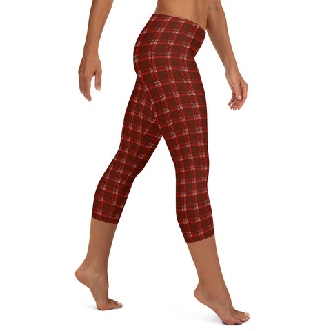 Dark Red Plaid Capri Leggings, Tartan Print Women's Capris Tights-Made in USA/EU-Heidi Kimura Art LLC-Heidi Kimura Art LLC Dark Red Plaid Print Cute Designer Capri Designer Spandex Dressy Casual Fashion Leggings - Made in USA/EU (US Size: XS-XL) Plaid Leggings, Red Plaid Leggings for Women for sale, Plaid Leggings, Plaid Tights Women, Women's Plaid Leggings, Red Plaid Leggings Womens, Red And Black Plaid Leggings