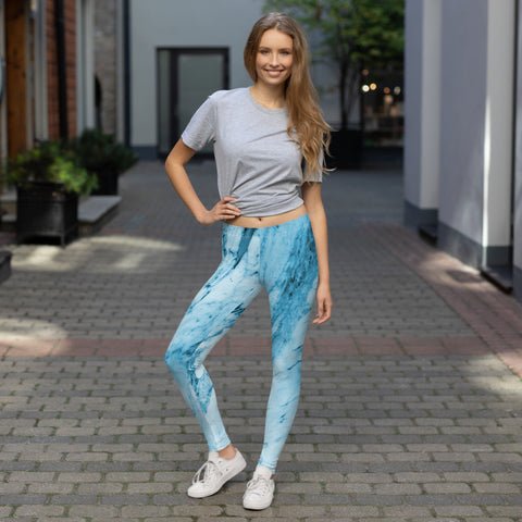 Blue Marble Print Fancy Leggings, Women's Dressy Abstract Tights-Made in USA/EU-Heidi Kimura Art LLC-Heidi Kimura Art LLC Blue Marble Print Fancy Leggings, Women's Dressy Abstract Women's Long Dressy Casual Fashion Leggings/ Running Tights - Made in USA/ EU (US Size: XS-XL)