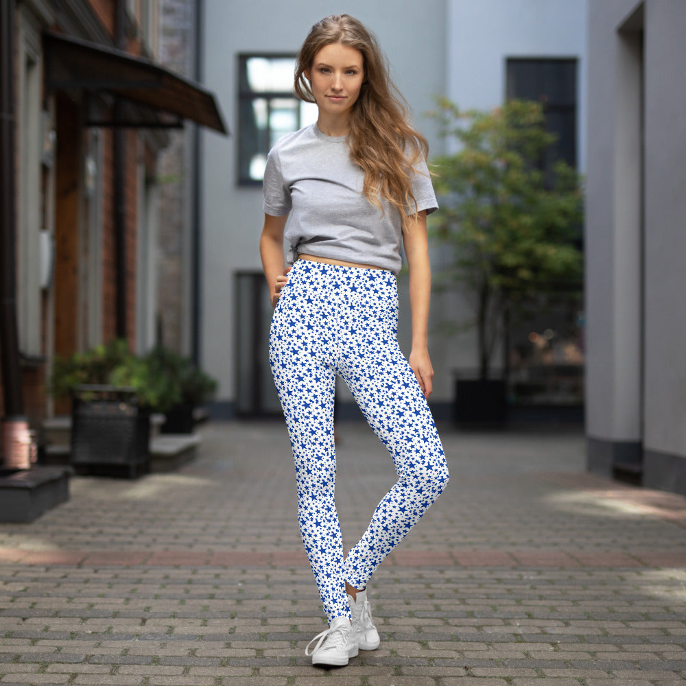 White Blue Stars Pattern Print Women's Designer Long Yoga Leggings Pants- Made in USA/EU-Leggings-XS-Heidi Kimura Art LLC  Blue Stars Women's Leggings, White Blue Stars Pattern Print  Premium Women's Active Wear Fitted Leggings Sports Long Yoga & Barre Pants, Sportswear, Gym Clothes, Workout Pants - Made in USA/ EU (US Size: XS-XL)