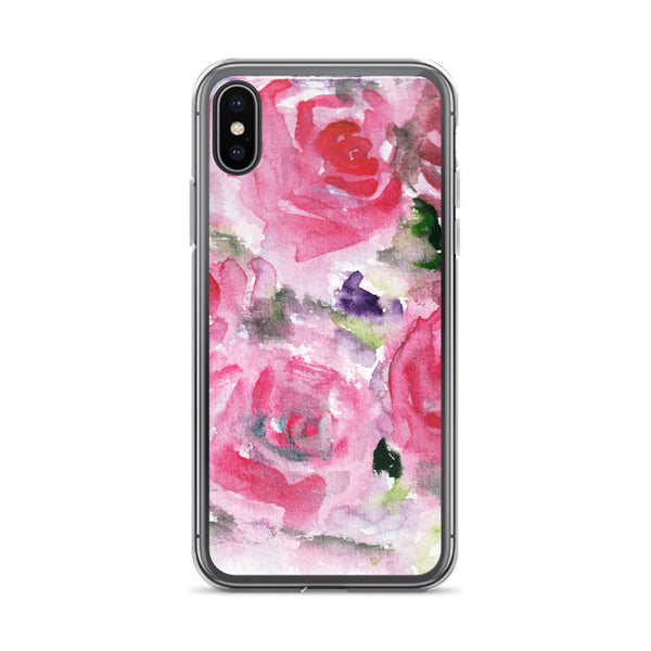 Hot Pink French Rose Floral Print iPhone X | XS | XR | XS Max | 8 | 8+ | 7| 7+ |6/6S | 6+/6S+ Case- Made in USA-Phone Cases-iPhone X-Heidi Kimura Art LLC