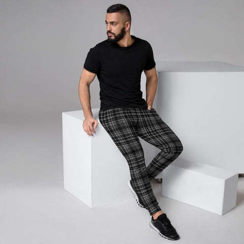Black Grey Plaid Men's Joggers, Tartan Print Designer Ultra Soft & Comfortable Men's Joggers, Men's Jogger Pants-Made in EU (US Size: XS-3XL)
